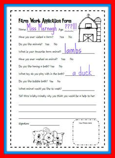 Mrs. Wishy-Washy's Farm Printable