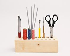 Pencil Holder Desk Organizer CRAFTING CINDY Wood Pen Holder Office Organizers  Sells for $59 on Etsy, but how easy would this be to make if you have tools?