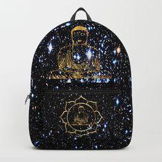 Gold funky Space Buddha Backpack by azima Xmas, Christmas, Consciousness, Namaste, Reiki, Fashion Backpack, Pop Art, Buddha, Zen