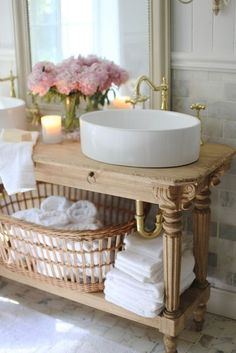 Elegant French cottage bathroom renovation peek