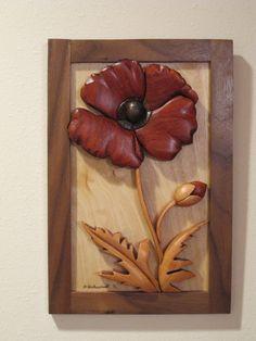 Poppy Flower III (I-280): Wooden Wall Art | DuWayne Schwindt (RAKOWOODS), $75.00