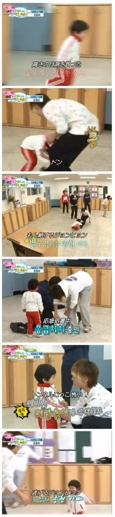 Jonghyun: Appa is scared of that game. I love that episode XD the tunnel game of doom :)