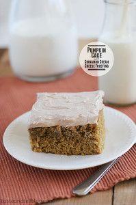 Pumpkin Cake with Cinnamon Cream Cheese Frosting | www.tasteandtellblog.com