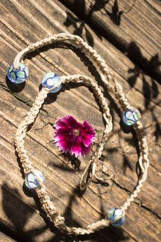 Blue and Green Handblown Glass Beaded Hemp Neckace by JaiMichelleR on Etsy