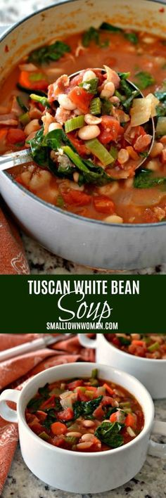 Bean Soup | Bacon Bean Soup | Comfort Food | Tuscan Bean Soup | Vegetable Bean Soup | White Bean Soup | Small Town Woman #bean soup #tuscanbeansoup #smalltownwoman