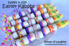Sweet & Silly Marshmallow Kabobs for Easter ~ fun to give to a child's class at school, a sunday school class, or just a fun edible craft to make with kids