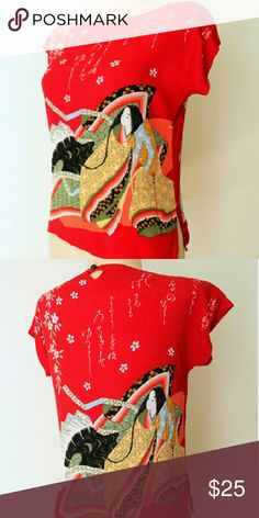 """90s GEISHA MEMOIRS Novelty Print Bright Red Blouse Beautiful 90s red asian-inspired rayon blouse with flower, character, and lady & fan print. 4"""" slits on both sides of blouse. Textured, cool & light rayon. Button closure in back at neck. Excellent condition.?  Fit for an XS / SM:  32-36"""" bust 20"""" length Tops"""