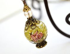 Resin Flower Necklace Real Flower Necklace Moss by LaTaniaJewelry