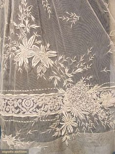 Augusta Auctions accepts consignments of historic clothing and textiles from museums, estates and individuals. Border Embroidery Designs, White Embroidery, Antique Lace, Vintage Lace, Linens And Lace, Heirloom Sewing, Lace Making, Fabric Jewelry, Art Deco Fashion