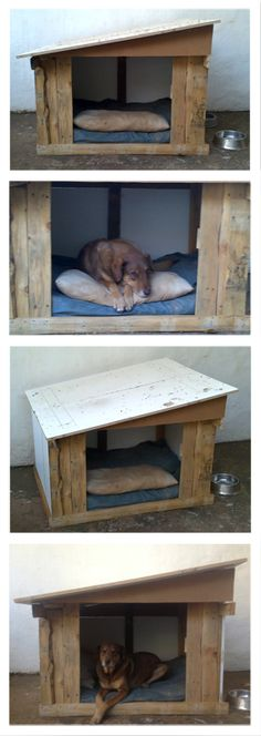 Doghouse made from recycled pallet wood and plastic-laminated ply-wood. I built this with no design plans and literally just made it up as I went along :) All you need is: • Wood • a Saw • Lots of nails or screws (I prefer screws) • Imagination