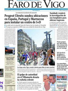 Los Titulares y Portadas de Noticias Destacadas Españolas del 27 de Agosto de 2013 del Diario Faro de Vigo ¿Que le pareció esta Portada de este Diario Español?
