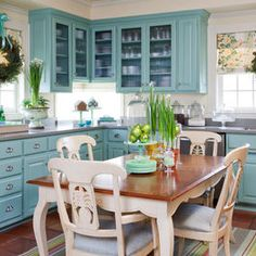 I love the feel of this kitchen!  I'm not a fan of the clue.  I'd choose something different.
