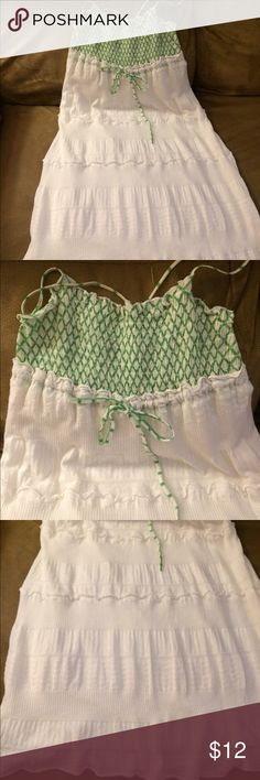 Free People sundress White gauzy Free People sundress with green embroidery Free People Dresses