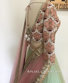 Up-close with the details and embroidery 🌿 - a . Indian Attire, Indian Ethnic Wear, Indian Dresses, Indian Outfits, Indian Clothes, Pakistani Dresses, Indian Lehenga, Lehenga Designs, Kurta Designs