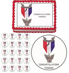 EAGLE SCOUT BADGE EMBLEM Edible Birthday Party Cake Cupcake Toppers Decorations