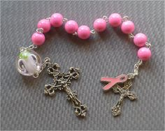 Handmade Breast Cancer  8mm Pink Glass One by JaysReligiousGifts