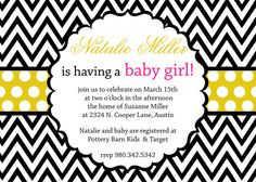 Natalie Baby Shower Invitation for a girl  by andreagerigdesigns, $15.00