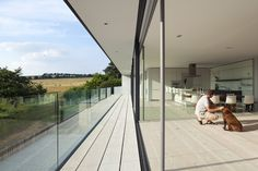 Image 16 of 20 from gallery of Hurst House / John Pardey Architects + Ström Architects. Photograph by Andy Stagg Mountain Villa, Glass House Design, Triangle House, Masonry Wall, Stone Houses, House 2, Residential Architecture, Ground Floor, Beach House