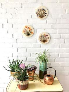 Vintage Bilder Blumen, Mid Century Wanddekoration, Blumenbilder, Trockenblumen, gepresste Blumen, Made in Germany