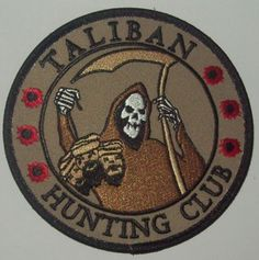 TALIBAN HUNTING CLUB DEATH REAPER HEAD HUNTER VELCRO MORALE MILITARY PATCH BROWN