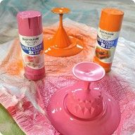 take cheap mismatched plates and glasses - glue together and spray paint to make unique cake stands! (Www.centsationalgirl.com)