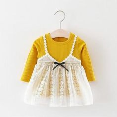 Baby Girl's Sweet Lace Faux-two Long Sleeve Dress