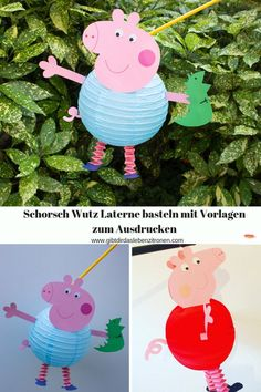 Linterna Tinker Schorsch Wutz con plantillas para imprimir - El año pasado, mi bricolaje para la linterna Peppa Wutz fue tan exitoso y seguí recibiendo solici - Diy Crafts To Sell, Home Crafts, Haloween Craft, How To Make Lanterns, Diy For Kids, Diy Projects, Christmas Ornaments, Holiday Decor, Holiday Crafts