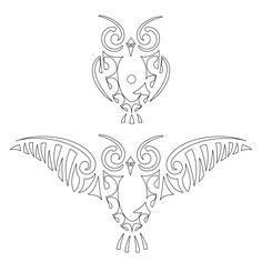 TATTOO TRIBES: Tattoo of Ruru, Owl tattoo,owl ruru koru heimatau tattoo - royaty-free tribal tattoos with meaning Owl Stencil, T Shirt Stencils, Stencil Diy, Stencil Painting, Owl Patterns, Stencil Patterns, Henna Patterns, Flower Patterns, Owl Tattoo Small