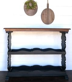 Wood Top Console Table With 2 Tier Shelf