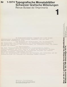TM SGM RSI, Typografische Monatsblätter, issue 1, 1974. Cover designer: Wolfgang Weingart
