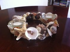 Sea Shell Candle Wreath by Sarainreno on Etsy, $30.00