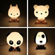 Novelty PVC Plastic Baby Bedroom Night Light Cartoon Animal Rabbit Sleep Led Table 3D Lamp Bulb Nightlight for Children
