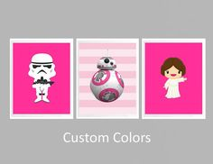 CANVAS Star Wars Girl Nursery Decor Set of 3,4,5 or 6,Star Wars Canvas Wall Art, Pink Star Wars bedroom decor, Personalized star wars canvas