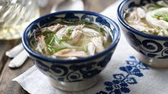 Use up leftover chicken carcasses in the Hairy Biker's recipe for a comforting bowl of chicken soup.  Each serving provides 134kcal, 10g protein, 21g carbohydrate (of which 0g sugars), 1.5g fat (of which 0.3g saturates), 0.4g fibre and 1g salt.