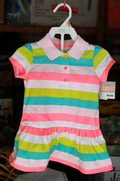 B8 Carter's Size 12 Month Girls Dress Matching Diaper Cover Pants Party Stripe  #Carters