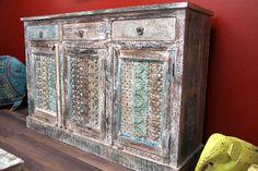 Massiv Holz Möbel - Asiatische Möbel und Deko - Schränke & Kommoden - Highboard, Schrank, Kommode, Kolonial, Indien, Massivholz, 150x100x40