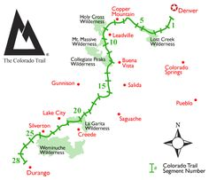 A map of The Colorado Trail; hundreds of miles oh High Country Glory.  #backpacking trip