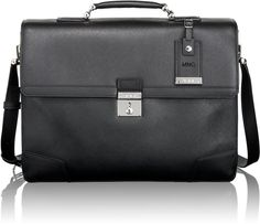 Tumi 'Astor Dorilton - Slim Flap' Embossed Leather Briefcase Inch) available… Black Leather Briefcase, Briefcase For Men, Leather Men, Leather Bags, Business Essentials, Tumi, Laptop Bag, Italian Leather, Messenger Bag