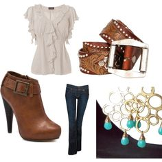 Brown & Turquoise, created by #jade21084 on #polyvore.