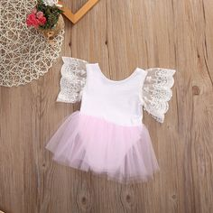 c9dcef2dad12 Newborn Kids Baby Girl Princess Romper Tutu Dress Skirt Lace Floral Outfits  0-3Y