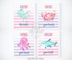 Girls Bathroom Decor, Kids Bathroom Wall Art, Girls Bathroom Prints, Printable, Set of 4 Prints, Kids Bathroom Signs, Sea Creatures Prints