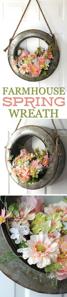DIY Farmhouse Style Spring Wreath | A gorgeous and unique door hanging for spring and summer using a decorative galvanized metal tire. So pretty! Junk Style | Repurposed Decor | Salvage