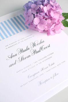 Vintage Sky Blue Wedding Invitations with a Striped Envelope Liner | 1940s