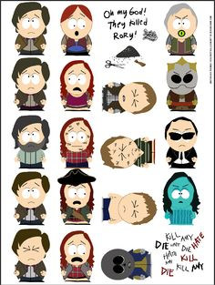 "fabulous t-shirt ""they killed Rory"" mashing up Doctor Who and South Park"