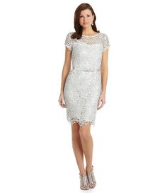 KM Collections Lace Belted Sheath Dress | Dillards.com