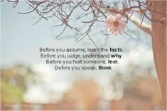 """Before you assume, learn the facts. Before you judge, understand why. Before you hurt someone, feel. Before you speak, think."""