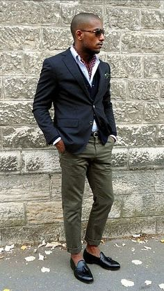 Wear a dark blue coat and olive trousers for your nine-to-five. A pair of black…