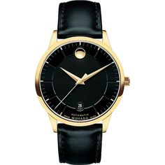 Movado 0606875 1881 Automatic gold-plated and leather watch ($715) ❤ liked on Polyvore featuring men's fashion, men's jewelry, men's watches, men's blue dial watches, movado mens watches, mens leather watches, mens leather strap watches and mens gold plated watches