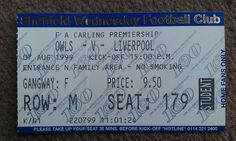 Sheffield Wednesday V Liverpool. Liverpool Football Tickets, Sheffield Wednesday, Premier League