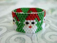 Beadwork Peyote Ring Santa Christmas Beaded Seed Bead - size 10